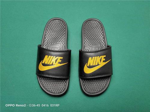 Nike Benassi JDI Slide 十年东莞专业拖鞋鞋厂出品 一体式橡塑材料与织物绑带增加衬垫设计 镭射激光打标 专柜品质 全黑黄NIKE配色