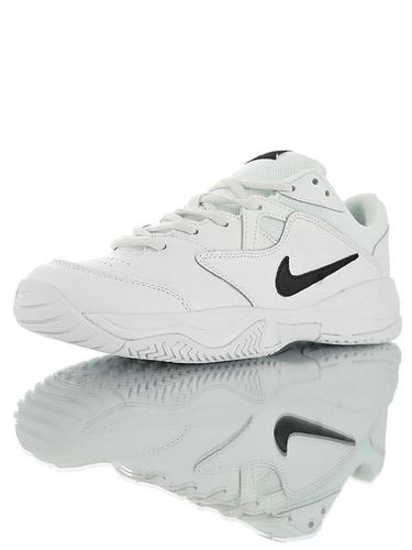 Nike Court Lite 2 Hard 韩系网红学院风 具开发打造 正确移膜革排气材质鞋面 耐克二代学院网球复古休闲运动慢跑鞋 黑白钩配色