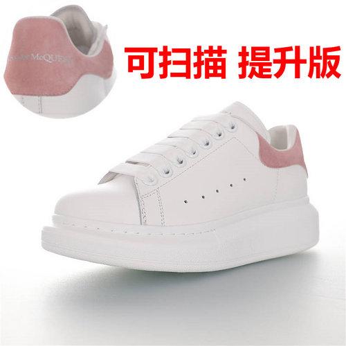Alexander McQueen  Sole Sneakers 亚历山大·麦昆 品质细节提升 低帮厚底小白鞋 白珊瑚粉麂皮尾配色 462214 WHGP7 9379