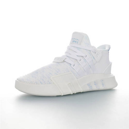 Adidas EQT Basketball ADV 三叶草新品 街头篮球短筒针织慢跑鞋 针织白浅蓝条纹配色 EE5049