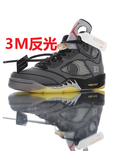 Off-White x Air Jordan 5 Retro RFID芯片射频识别系统 韩国进口纱网 全新开模大底区别套底 灰黑黄3M配色 CT8480-001