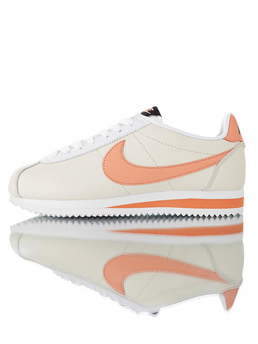 Nike Wmns Classic Cortez Leather Pure Platinum19ss海外限定 经典复古阿甘慢跑鞋 奶白蜜桃黄配色