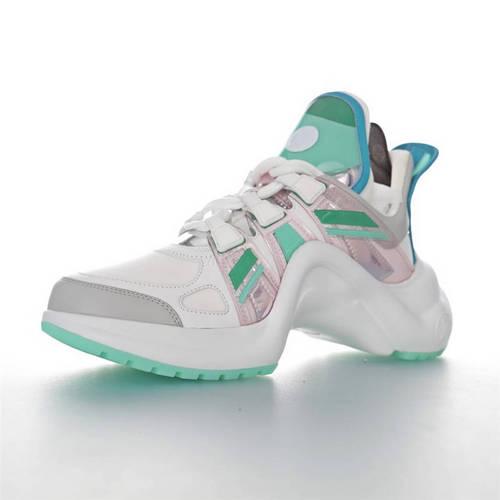 Louis Vuitton Archlight Sneakers Ins炸款米兰走秀风 路易威登减震运动弓型舞蹈老爹运动鞋 PVC白灰银水蓝薄荷绿配色 1A65RQ