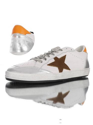 Golden Goose Ball Star distressed 意大利时装品牌·黄金鹅 球星系列经典复古运动小白板鞋 皮革白深棕银橙尾配色 G36WS592.A43