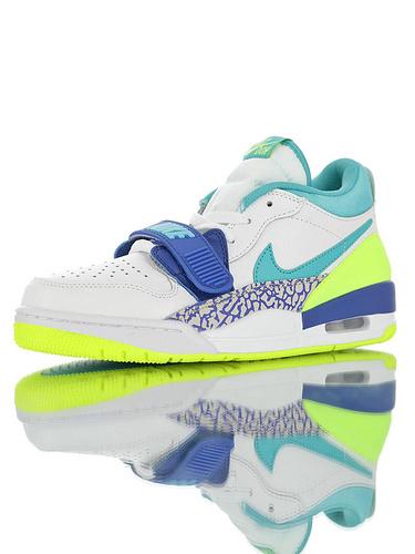 """Jordan Legacy 312 Low """"Neon Aquamarine"""" 具开发打造完美鞋型 正确皮料无色差 乔丹混合版本低帮休闲运动篮球鞋 白湖水荧光绿蓝配色"""