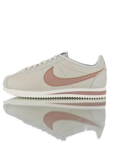 "Nike Wmns Classic Cortez Leather""particle pink""优质头层牛皮制 经典复古阿甘百搭慢跑鞋 皮革米黄玫瑰配色"