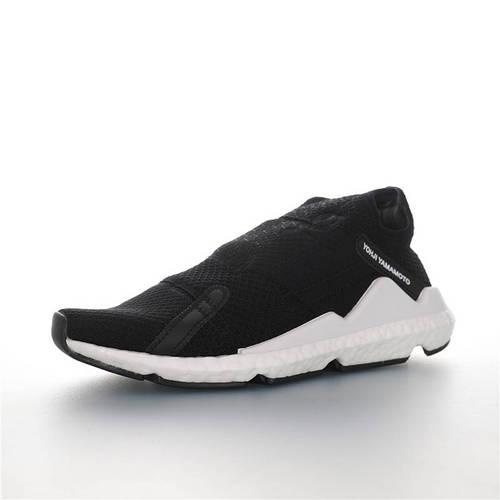 Adidas Y-3 Reberu Boost 全新无鞋带设计 三本耀司赛高针织一脚蹬袜套系列爆米花武士前卫慢跑鞋 针织黑白配色 F97395