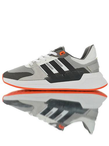 Adidas Neo Cloudfoam Comfort Run90s 2019阿迪达斯生活系列 网面透气轻量发泡底休闲运动慢跑鞋 灰深黑白橘配色