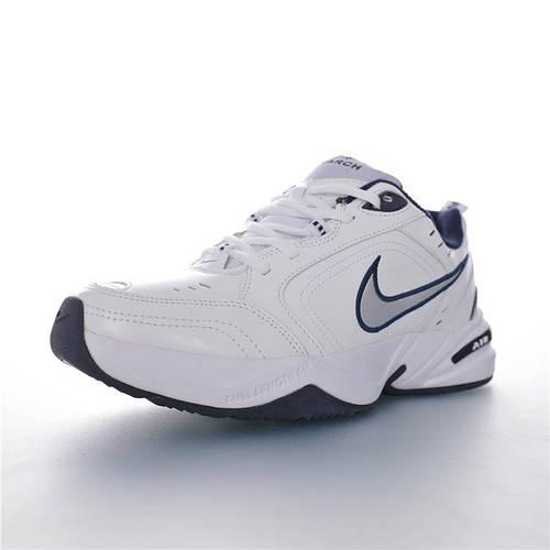 Nike Air Monarch IV 性价比的时尚复古老爹鞋 耐克帝王4代复古老爹百搭休闲慢跑鞋 皮革白深蓝配色 415445-102