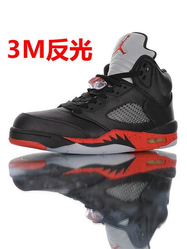 "Air Jordan Retro 5 OG ""Satin Bred"" 光泽质感表现出众 乔丹5代中帮复古休闲文化篮球鞋 黑红丝绸3M反光配色 136027-006"