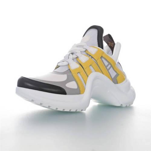 Louis Vuitton Archlight Sneakers INS炸款米兰走秀风 路易威登 真皮拼色减震网面运动弓型舞蹈复古老爹鞋 白灰宝蓝黄棕老花配色1A5C9L