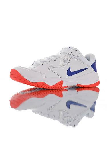 Nike Court Lite 2 Hard 韩系网红学院风 具开发打造 正确移膜革排气材质鞋面 耐克二代学院网球复古休闲运动慢跑鞋 白宝蓝红配色