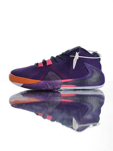 Nike Zoom Freak 1 扬尼斯·安特托昆博签名款 字母哥一代系列 后掌真双层Zoom气垫 内靴锁定系统#独特抓地纹路大底 气垫低帮运动篮球鞋 深紫橘黄粉白配色