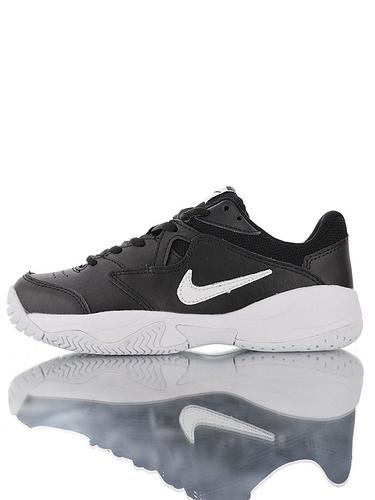 Nike Court Lite 2 Hard 韩系网红学院风  正确移膜革排气材质鞋面 耐克二代学院网球复古休闲运动慢跑鞋 黑白小钩配色