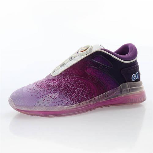 G家Ultrapace R sneaker 20Fw秋冬系列时装秀场款 旋钮鞋带系统超速系列做旧老爹板鞋 针织暗紫渐变浅紫白配色 623153 H9T40 8475