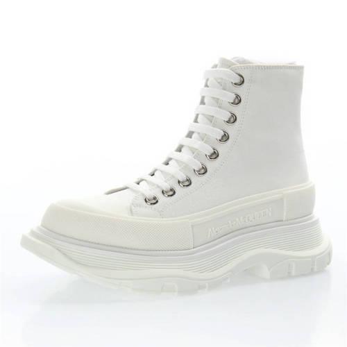 Alexander McQueen Chunky Tread Slick High Sneakers 帆布纯白 633900WHW571027