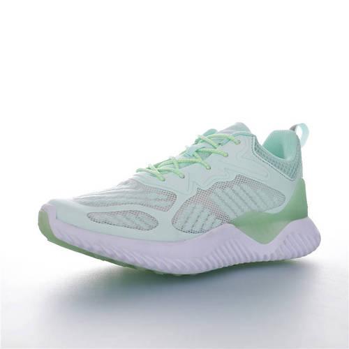 Adidas AlphaBOUNCE J 童鞋版本上线 潮爹潮妈追寻的单品 阿迪达斯阿尔法童鞋系列鲨鱼鳃纹大底套脚休闲运动慢跑鞋 网织薄荷绿白配色 B43617