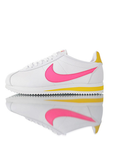 Nike Wmns Classic Cortez Leather Pure Platinum19ss海外限定 经典复古阿甘慢跑鞋 白皮荧光粉配色
