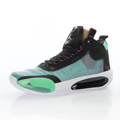 Air Jordan XXXIV SE 乔丹34代镂空缓震中帮史上最轻实战运动篮球鞋 孔雀绿黑粉白配色 BQ3381-400