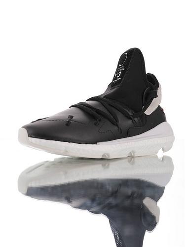 Adidas Y-3 Kusari II Fw19秋季新品  3层组合橡胶鞋底 中底嵌入Boost超软材质 三本耀司赛高二代爆米花武士前卫跑鞋 皮革黑红配色