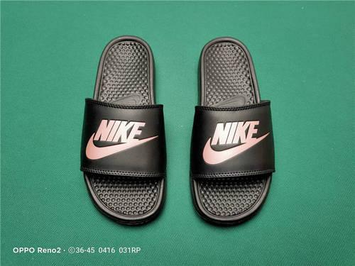Nike Benassi JDI Slide 十年东莞专业拖鞋鞋厂出品 一体式橡塑材料与织物绑带增加衬垫设计 镭射激光打标 专柜品质 黑玫红勾配色