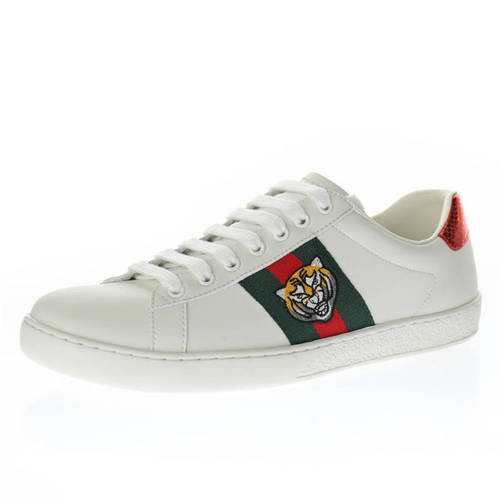 G家 Ace Embroidered Low-Top 米白绿红老虎头 457132 02JP0 9064