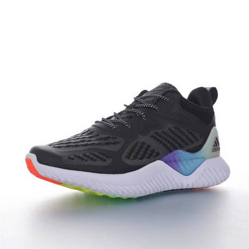 Adidas AlphaBOUNCE J 童鞋版本上线 潮爹潮妈追寻的单品 阿迪达斯阿尔法童鞋系列鲨鱼鳃纹大底套脚休闲运动慢跑鞋 网织黑白彩虹配色 B43809