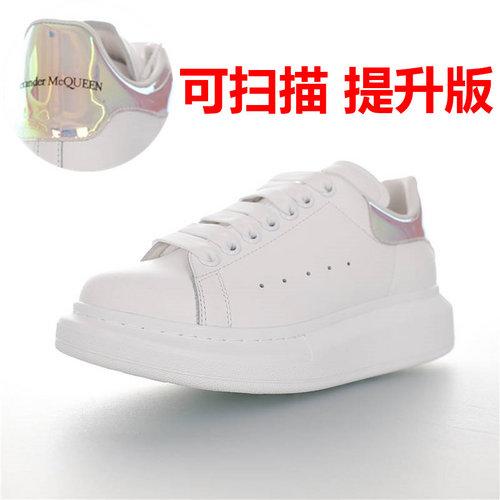 Alexander McQueen  Sole Sneakers 亚历山大·麦昆 品质细节提升 低帮厚底小白鞋 白镭射彩虹尾配色 462214 WHGP7 9378