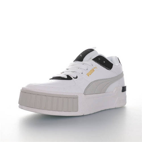 Puma Cali Sport Mix 全新彪马 卡利运动混合系列松糕厚底百搭板鞋 皮革白黑灰配色 371202-03