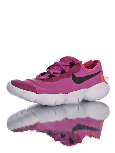 Free RN 5.0 2020SS春夏新款 舒服就完事了 耐克赤足系列超轻量休闲运动透气慢跑鞋 深紫粉黑橘白配色 CJ0270-601
