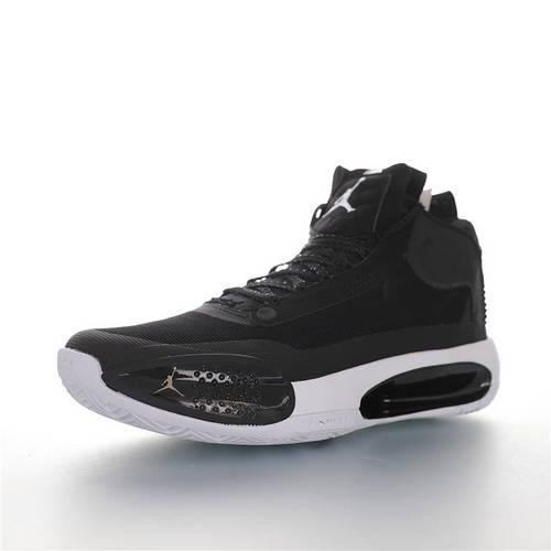 "Air Jordan XXXIV ""Black White"" 郭艾伦专属 乔丹34代镂空缓震中帮史上最轻实战运动篮球鞋 黑白配色 BQ3381-001"
