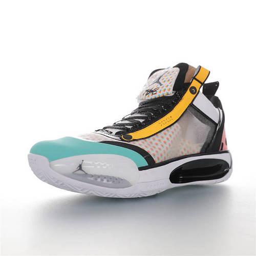 Air Jordan XXXIV SE 乔丹34代镂空缓震中帮史上最轻实战运动篮球鞋 白黑粉桔红蒂芙尼绿黄配色 CZ7748-100