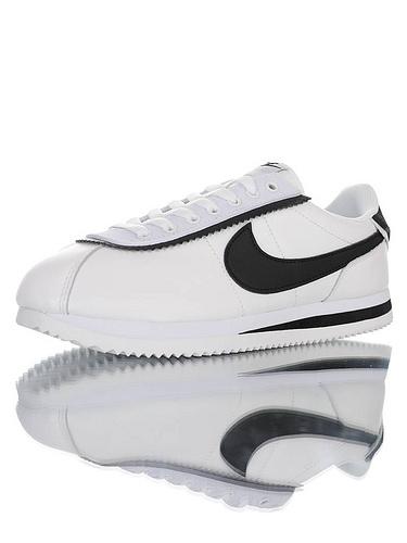 Nike Cortez Basic Leather SE 采用优质纤维皮革鞋面材质 耐克阿甘复古初代休闲百搭慢跑鞋 皮革白黑叠层鞋眼片配色 CD7253-103