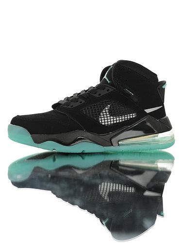 """Jordan Mars 270 """"Green Glow"""" 后掌回弹气垫大底 火星之子混合鞋面高帮休闲运动篮球鞋 皮革白夜色绿配色"""