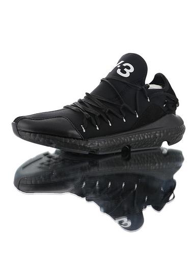 Adidas Y-3 Kusari 三本耀司亲力设计款 独立鞋带系统 原装真爆材质高端硬质礼盒 库萨日系列爆米花袜套武士前卫慢跑鞋 弹布全黑白字母配色