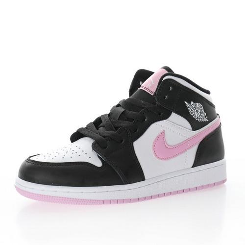 "Air Jordan 1 Retro Mid GS""Black White Arctic Pink"" 黑白樱花粉 555112-103"