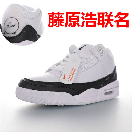 "Fragment Design x Air Jordan 3 SP""Fragment"" 潮流教父藤原浩主理品牌 AJ3代中帮篮球鞋 白黑闪电配色DA3595-100"