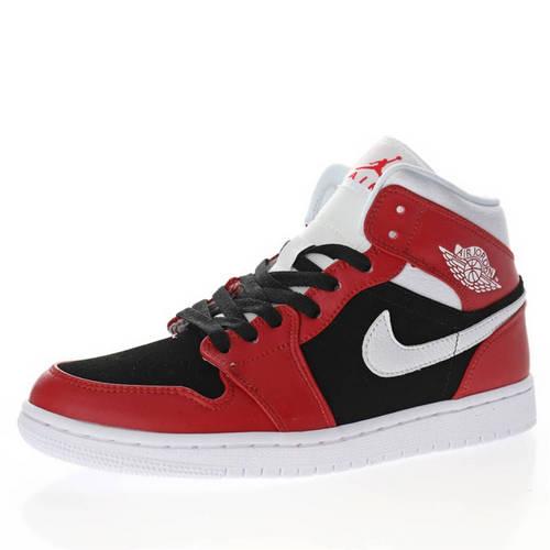 "Air Jordan 1 Mid GS""Chicago Black Red"" 黑白红小芝加哥 BQ6472-601"
