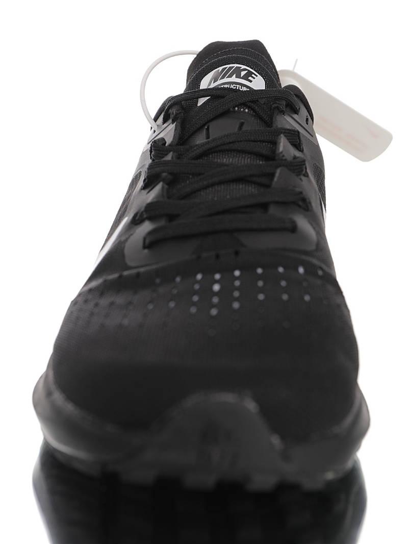 Nike Air Zoom Structure 7X 20ss全新 耐克结构系列网织拉线透气休闲运动跑步鞋 纯黑白钩配色 CU1855-002