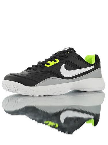 "Nike Court Lite ""Black White Volt"" 具开发打造 正确移膜革排气材质鞋面 最新高品质版本 耐克学院网球复古休闲运动慢跑鞋 黑白浅灰荧绿配色"