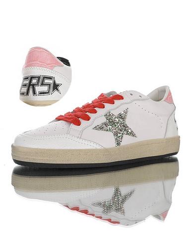 Golden Goose Ball Star distressed 意大利时装品牌·黄金鹅 球星系列经典复古运动小白板鞋 皮革白红闪银粉尾配色 G36WS592.A44