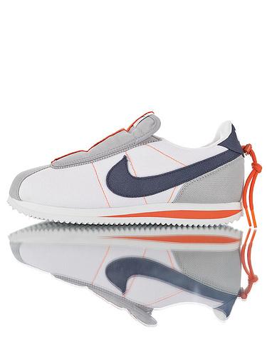 Kendrick Lamar x Nike Cortez Basic Slip 说唱歌手肯德里克拉马尔联名限定款 改良收缩鞋带大鞋舌前卫阿甘板鞋 白灰橘配色
