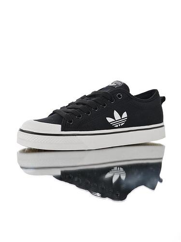 Adidas Nizza Blanc Trefoil LO 2.0  超高品质 阿迪达斯半截式包胶头校园百搭休闲帆布板鞋 黑白三叶LOGO配色