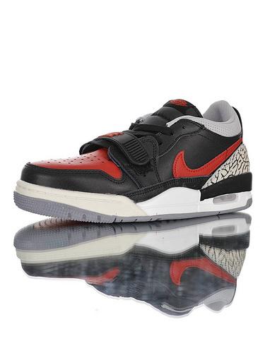 "Jordan Legacy 312 Low""Bred Cement"" 乔丹最强三合一混合版本低帮休闲运动篮球鞋 黑红公牛水泥配色 CD9054-006"