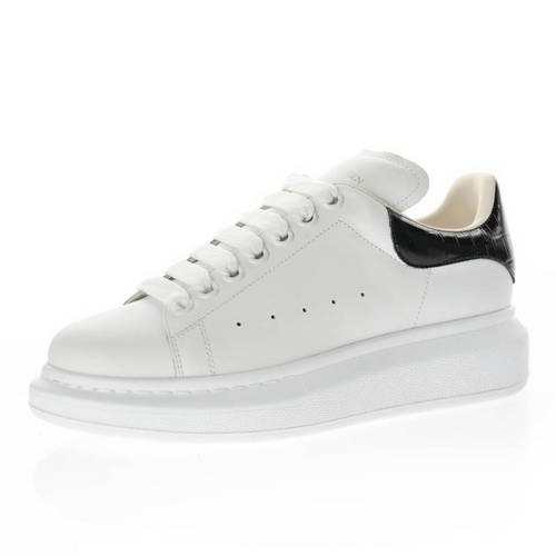 Alexander McQueen Sole Leather Sneakers 皮革白黑鳄鱼纹尾 462214 WHGP7 9399