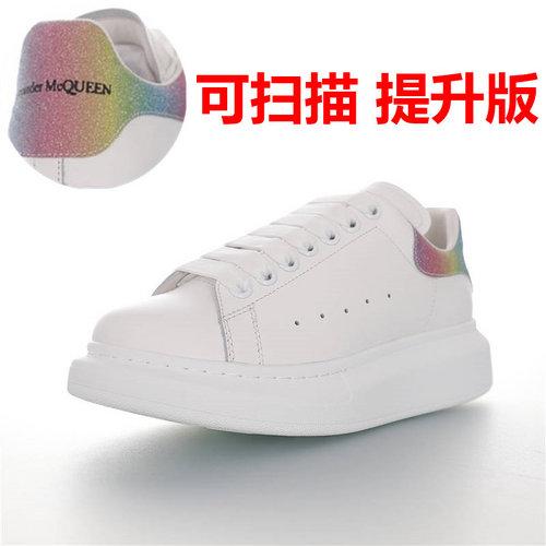 Alexander McQueen  Sole Sneakers 亚历山大·麦昆 品质细节提升 低帮厚底小白鞋 白彩虹渐变闪粉尾配色462214 WHGP7 9429