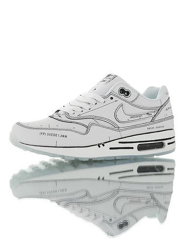 "Nike Air Max 1 Tinker ""Sketch To Shelf"" 重新定义二次 百搭复古气垫休闲运动慢跑鞋 手搞白黑配色"