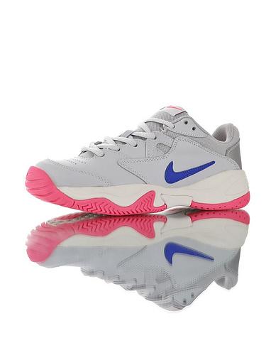 Nike Court Lite 2 Hard 韩系网红学院风 具开发打造 正确移膜革排气材质鞋面 耐克二代学院网球复古休闲运动慢跑鞋 灰宝蓝白粉配色