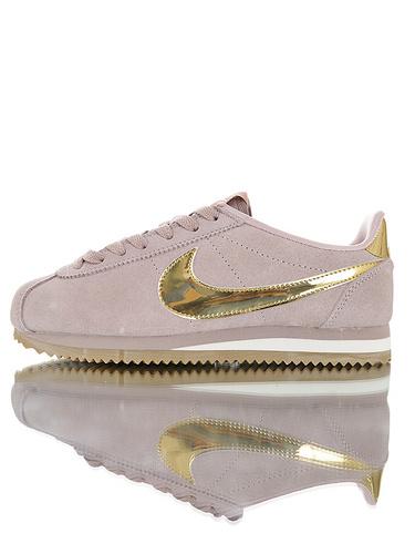 "Nike Women Classic Cortez SE""Diffused Taupe Gold""优质头层牛皮制 经典复古阿甘百搭慢跑鞋 藕粉金勾配色"
