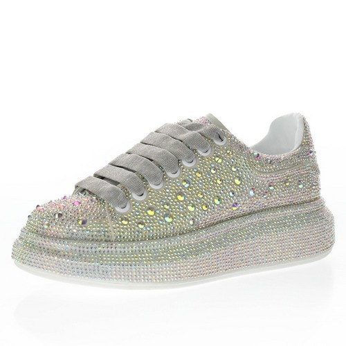 Alexander McQueen sole sneakers 绒皮灰彩贴钻 462214 WHFBU 9043